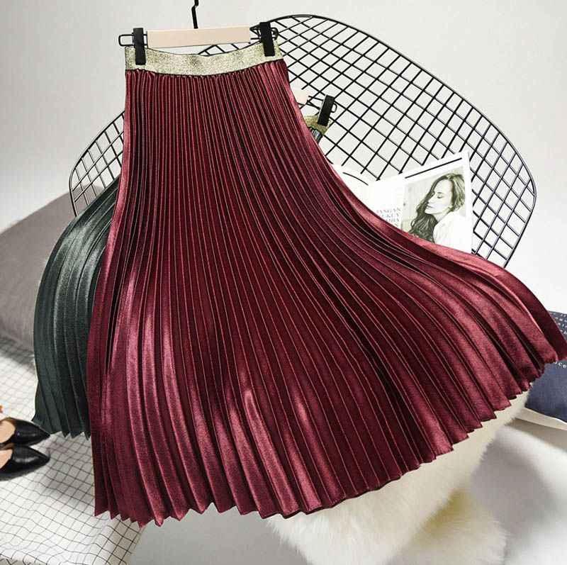 584de0d83f ... Women's Fashion Solid Color Midi Skirt Ladies Elastic High Waist Velour  Chic Pleated Skirts Saias Faldas