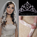 2015 Free Shipping High quality Hot sell White/beige Appliquine Edge Bridal Veils 3 pieces Suit  Cheap Wedding dress Accessories