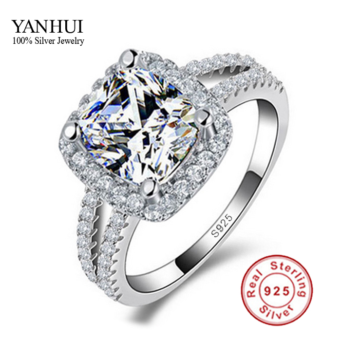 fine jewelry 100 real 925 sterling silver ring 3 carat cz diamant engagement wedding rings for women jzr066 - Sterling Silver Diamond Wedding Rings