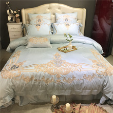Light Blue Luxury European Gold Royal Embroidery Egyptian Cotton Palace Bedding Set Duvet Cover Bed Linen sheet Pillowcase