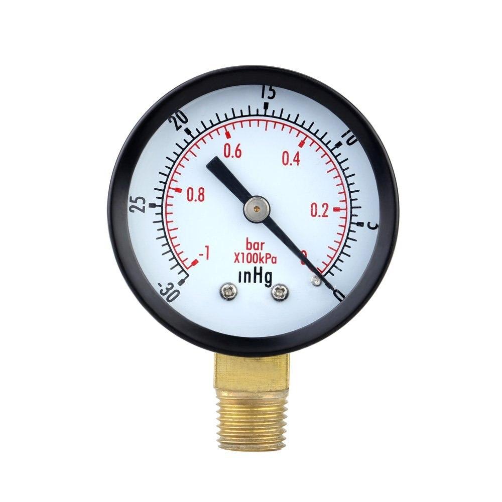 Pressure Gauge - 0 ~ -30inHg  0 ~ -1 bar Mini Dial Air Pressure Gauge Barometer meters Vacuum gauge dual scale dial Black
