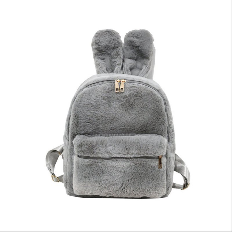 Large Capacity Faux Long Rabbit Ear Shape Decoration Fluffy Winter Bag Double Shoulder Backpack Pillow Backpack mochila feminina in Backpacks from Luggage Bags