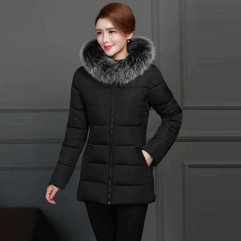 2019 Winter Jas Vrouwen Plus size 5XL Warm Winter Jas Dame Kleding Vrouwelijke Jassen Parka Nep bontkraag vrouwen down jas