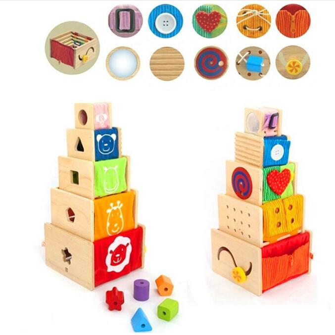 Wooden toy wood Montessori learning block shape match game 5 activity stackers baby hand work training Button zipper storage box candice guo wooden toy wood shape color block sun moon diy hand work match building pillar game birthday christmas present gift