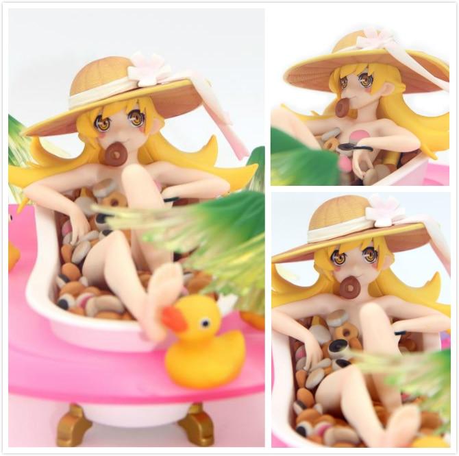 18cm Japanese anime figure Aniplex Nisemonogatar Oshino Shinobu bathtub doughnuts action collectible model toys for boys