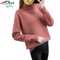 2018 Autumn And Winter New Korean Thicken Warm High Collar Short Section Pullover Sweater Ladies Fashion