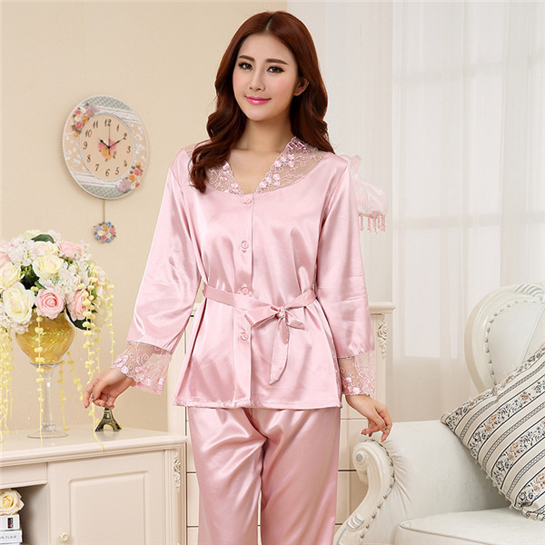 df943b1841 2015 Hot sexy pajama sets sleepwear faux silk lace pijama woman satin  pyjama ladies sleep lounge women s clothing feminino