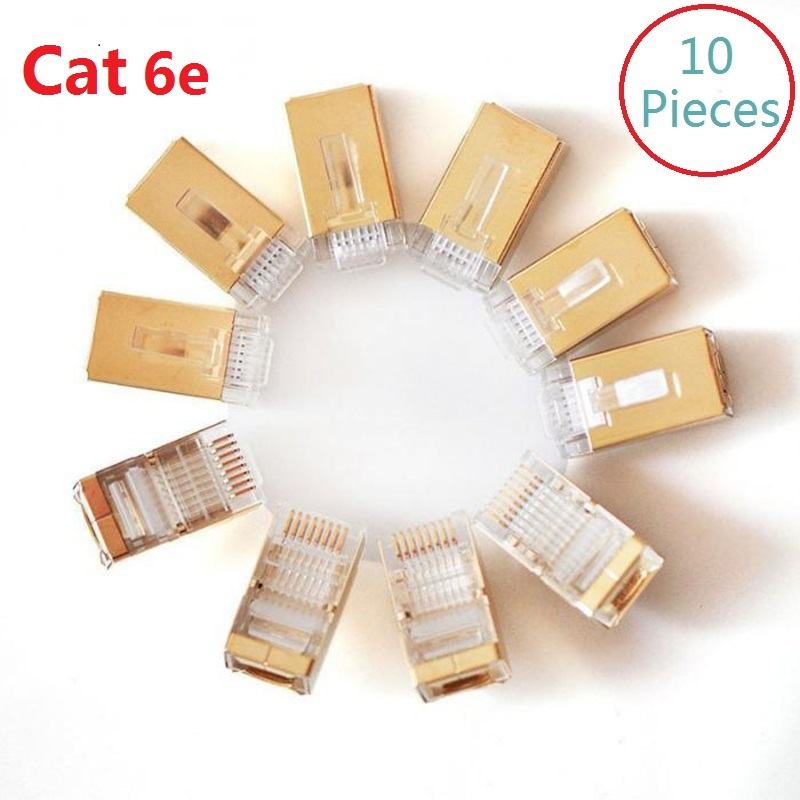 10Pcs lot CAT6e gold plated FTP RJ45 Network Cable Modular Plug 8P8C crystal head in Computer Cables Connectors from Computer Office