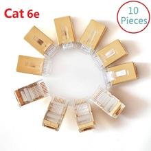 10Pcs/lot CAT6e gold plated FTP RJ45 Network Cable Modular Plug  8P8C crystal head