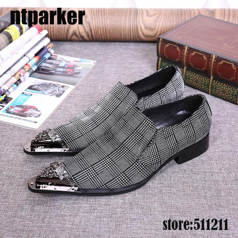 ntparker Big Sizes Pointed Iron Toe Handsome Grey Men's Dress Shoes Elegant Business Leather Shoes Men Heels Increased!