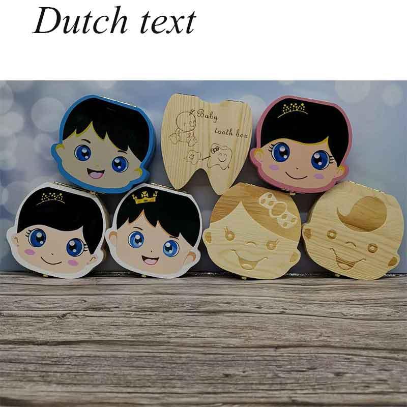 Dutch/ English  Baby Wood Tooth Box Organizer Milk Teeth Storage Collect Teeth Umbilica For Boys Girls Save Keepsake Souvenir