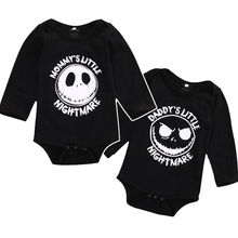 Newborn Infant Baby Boy Girl Halloween Printed Long Sleeve Bodysuit Playsuit Outfits Clothes Black