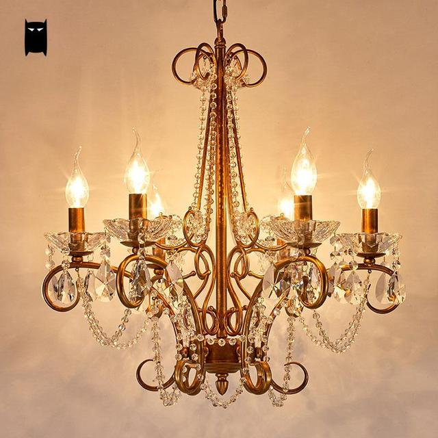 Gold Silver Iron Crystal Candle Chandelier Light Fixture Modern Nordic Vintage Art Lamp Re Avize Luminaria