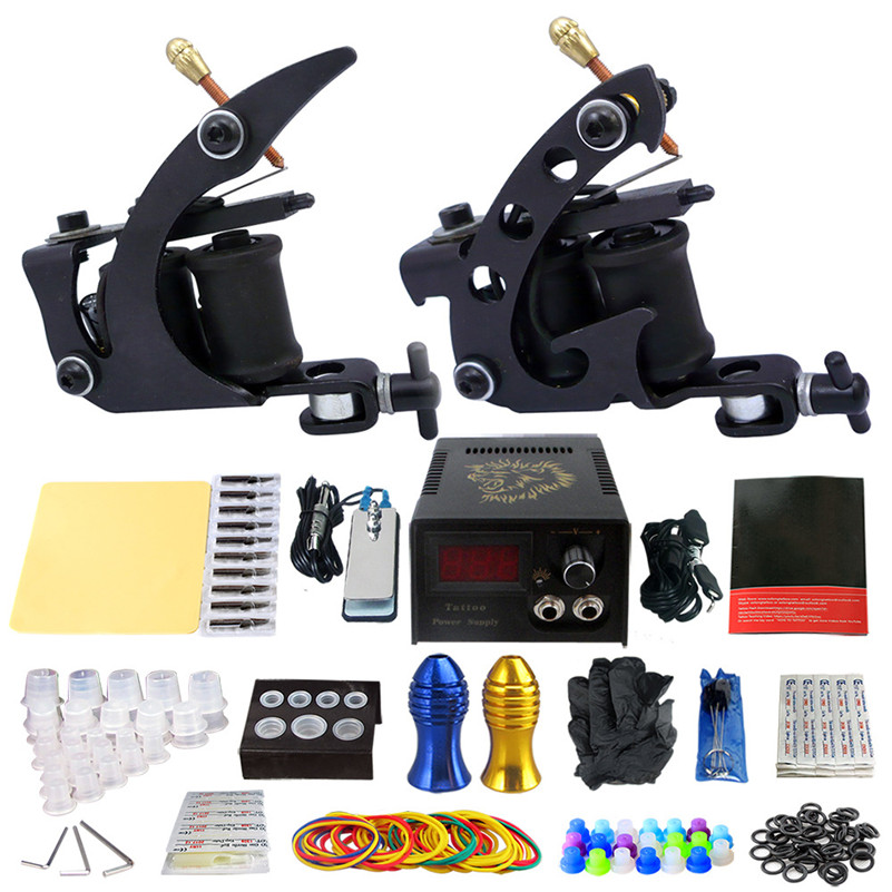 2017 Pro Complete Tattoo Machine Kit Set 2Pcs Coil Tattoo Machine Gun Power Supply Needles Grips Tips Footswitch For Body Art car light accessories amp d2s d2c d2r hid xenon cable adaptor socket for d2 d4 d4s d4r xenon hid headlight relay wiring harness
