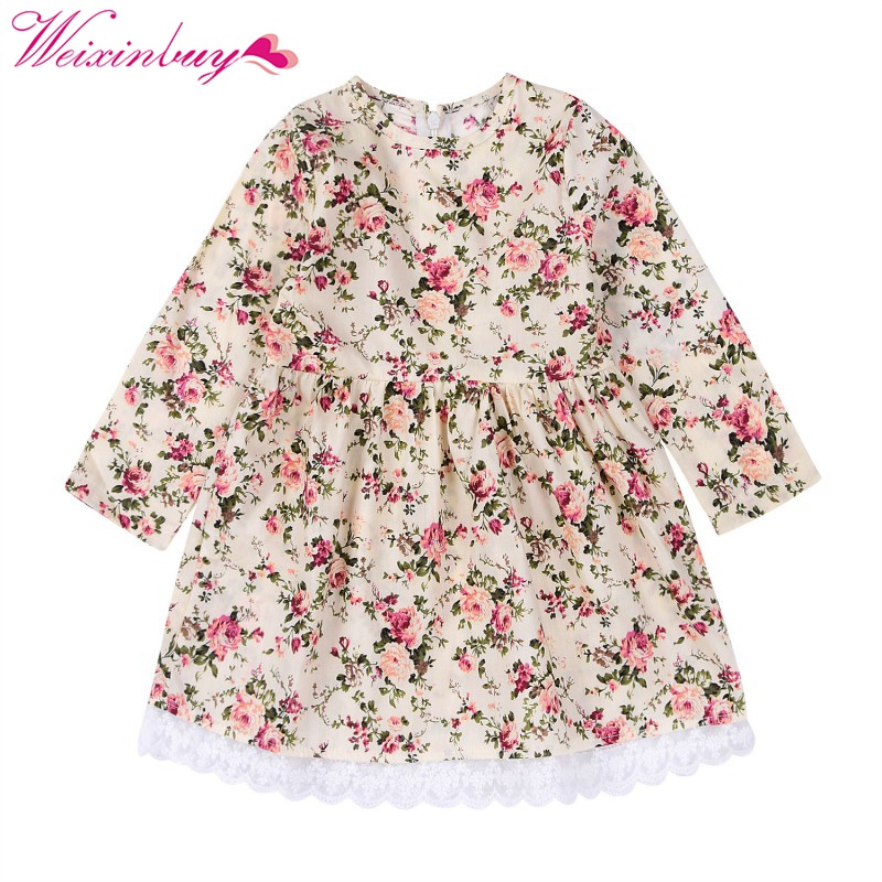 Spring Autumn Cute Floral Printed Baby Girls Dresses Long Sleeve Dress Casual Costume Kids Clothes Tutu Vestidos new spring autumn cotton long sleeved dress baby girls dresses for party floral costume for kids clothes vestido infantil t