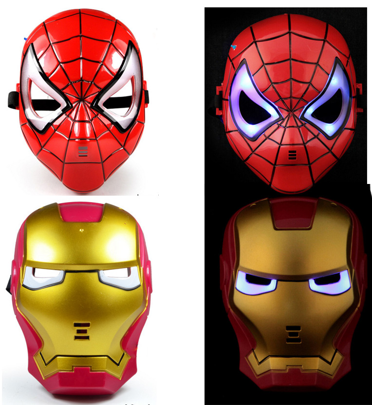 Plastic Avengers Ironman and <font><b>Spiderman</b></font> Electronic Luminous <font><b>Glow</b></font> Mask Toys 2pcs