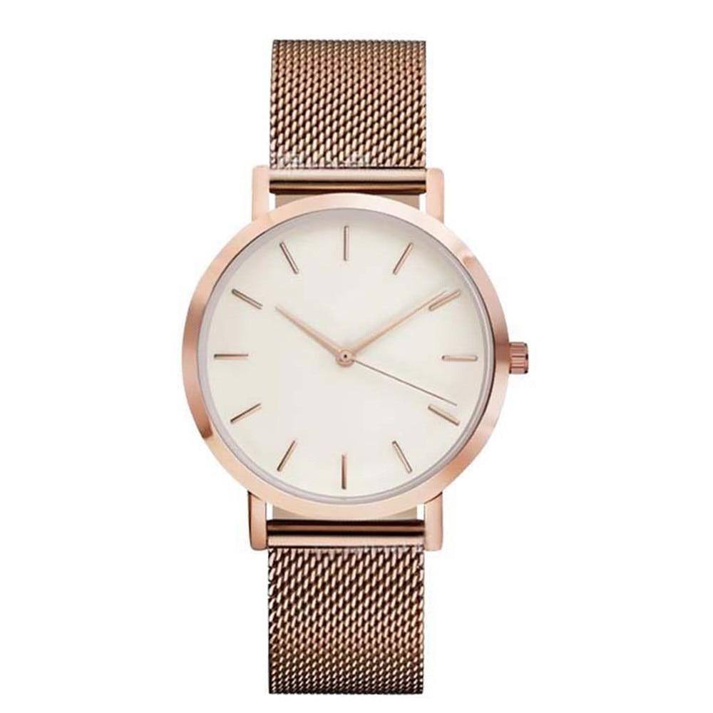 Cool Stuff Fashion Simple Stylish Top Brand Women Watches Stainless Steel Mesh Strap Quartz-watch Thin Dial Men Watch Clock Reloj Mujer 3