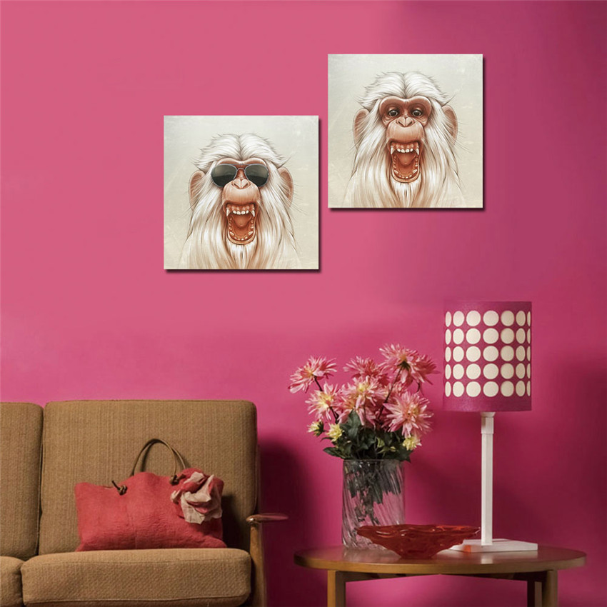 WEEN Framed Monkey Wall Pictures For Living Room Ready To Hang ...