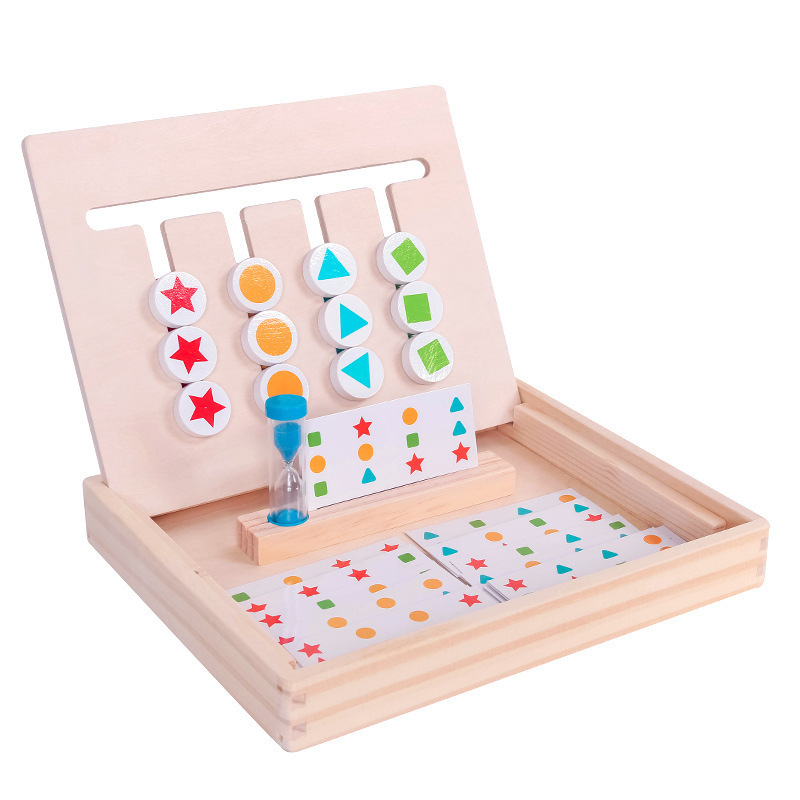 Montessori Early Educational Math Color Matching Toys Toddler Children Wooden Toys 4 Colors Matching Training Thinking Toys
