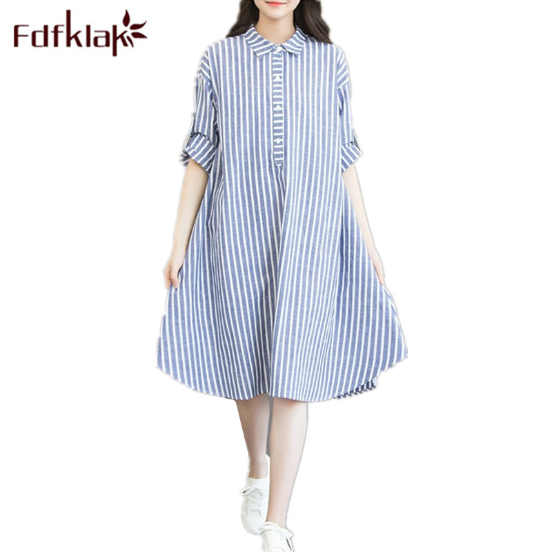 Fdfklak Pregnant Dress Maternity Gown Spring Summer Strip A-Line Maternity-Dress Breast Feeding Clothes Plus Size M-3XL F35