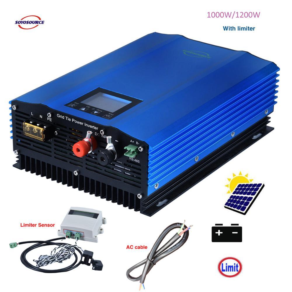 1000W Auto-Limite de Descarga Da Bateria Solar MPPT DC24V 48V 72V AC110V Grade 220V 230v empate Inversor com Limitador Sensor inverte a energia das ondas