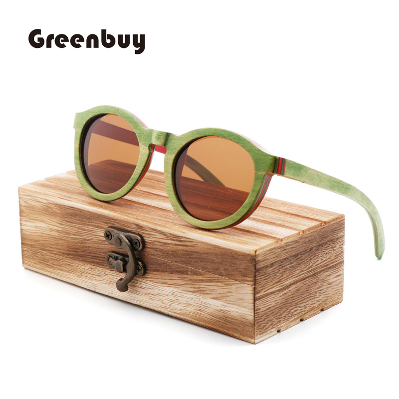 Ingenious Green Skateboard Wood Sunglasses Women Spring Hinge Sunglasses Wood Bamboo Uv400 Retro Sunglasses Oculos De Sol Feminino Women's Sunglasses Women's Glasses
