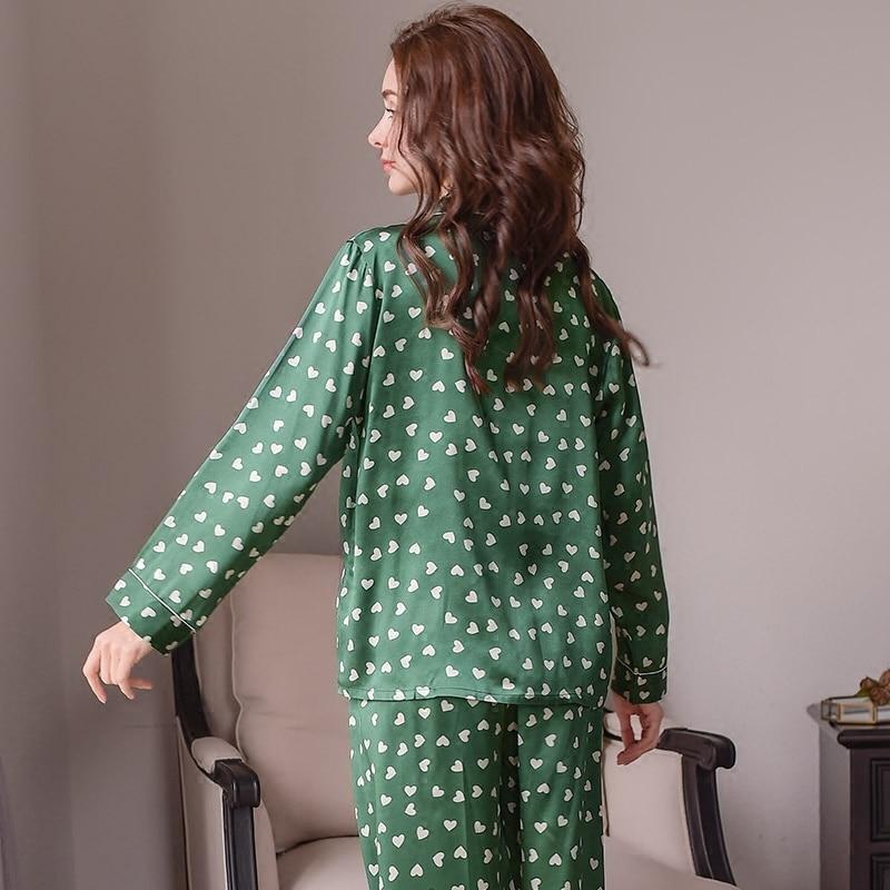 Genuine Silk Women 39 s Pajamas Heart shaped Printed Long Sleeve Pyjama Long Pants Sets 100 Silkworm Silk Sleepwear Female T8134 in Pajama Sets from Underwear amp Sleepwears