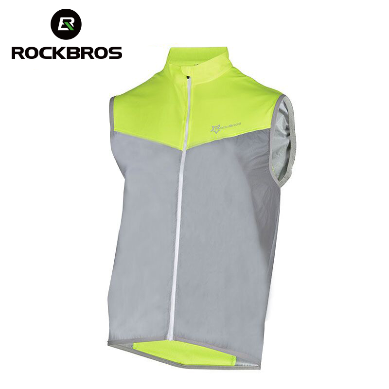 ROCKBROS Reflective Cycling Sleeveless Shirts Men Sportswear Jerseys Clothing Breathable Quick Dry Bike Jacket Chaleco Ciclismo new 2018 cycling jerseys men s maillot ropa ciclismo short sleeves clothes men bike bicycle t shirts slim fit quick dry t shirts