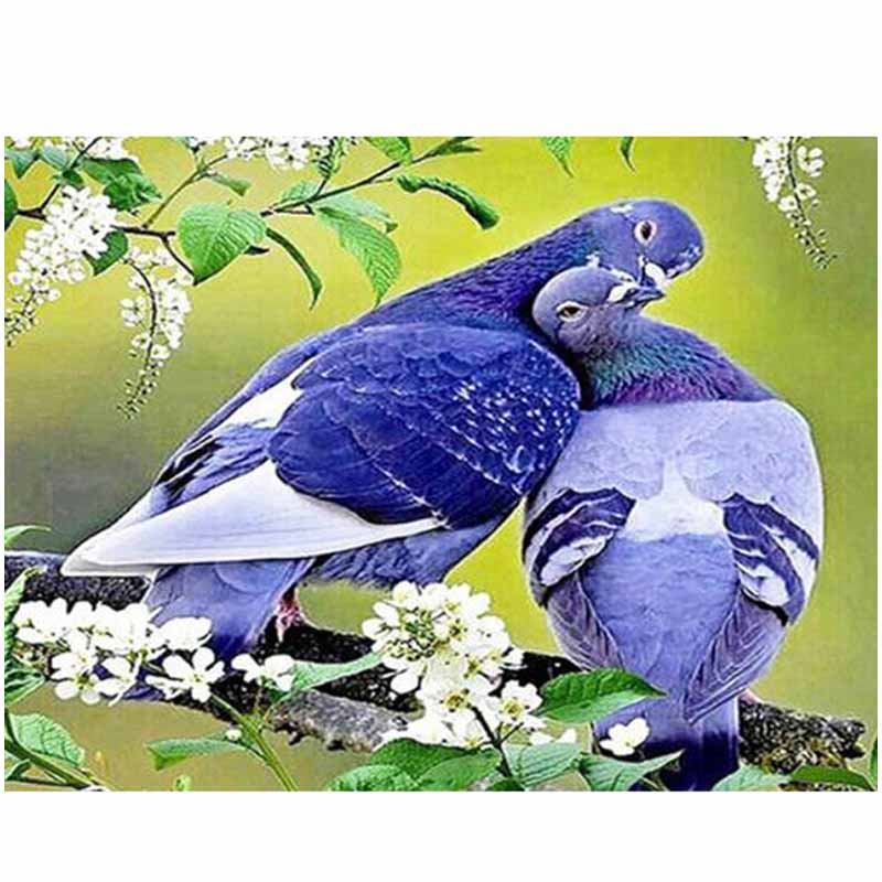 Diamond Embroidery Pigeon Cross-Stitch Round-Drill Full-Square Wedding-Decoration Wall-Stickerzp-1139
