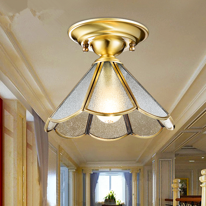Aisle balcony study lighting bedroom ceiling light modern crystal ceiling lamp 220V E27 ceiling lamps European-style copper simple style ceiling light wooden porch lamp square ceiling lamp modern single head decorative lamp for balcony corridor study