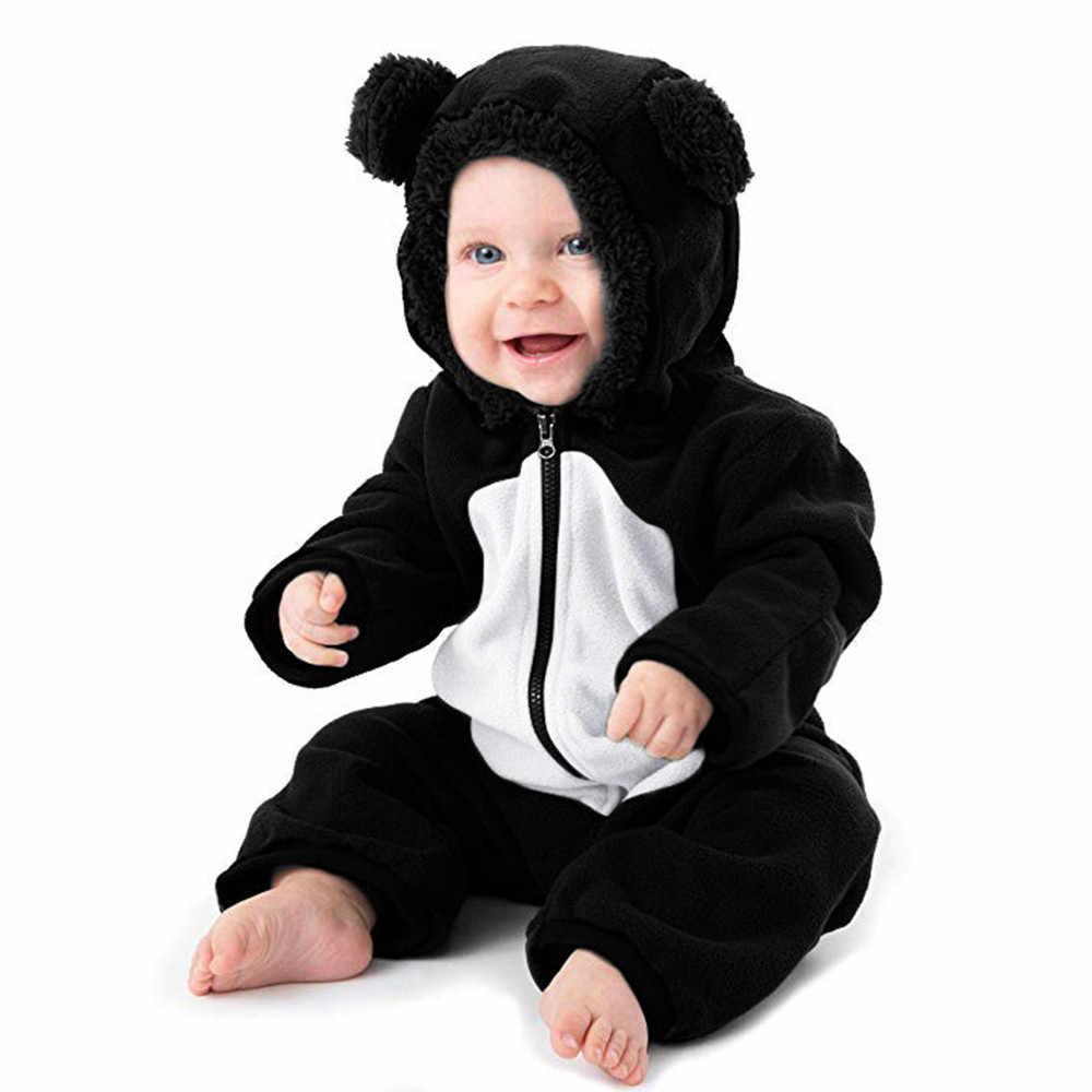 Trendy 2018 Romper bebek kostüm Toddler bebek kız erkek karikatür kulaklar Hoodie tulum Zip pamuklu giysiler tulum Infantis kostüm