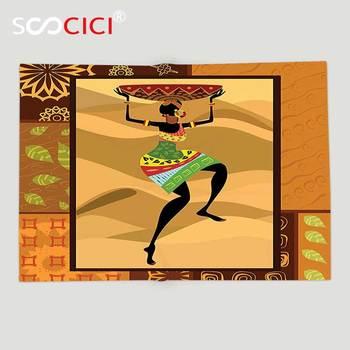 Custom Soft Fleece Throw Blanket Afro Decor Ethnic Pattern with Traditional Tribal Boho Elements Exotic Zulu Woman Print Ginger