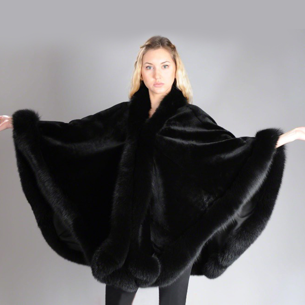 Image 3 - 2019 BFFUR Real Fur Fox Coat For Womens Natural Mink Fur Coat Ponchos Whole Skin Covered Capes Women Winter Fashion Slim ShawlReal Fur   -