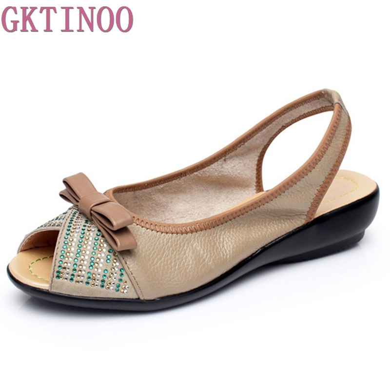 New 2018 summer shoes women genuine leather Rhinestone wedges shoes sandal Peep Toe women's sandals Plus size(35-43) women in the summer of 2018 the new patent leather nude wedges pointed toe pump work shoes leisure women plus size 35 40 a23