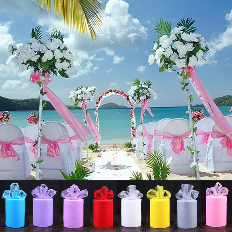 22mX15cm DIY Wedding Decoration Yarn Roll Crystal Tulle Organza Sheer Gauze Element Craft Party Wedding Favors Table Runner S30