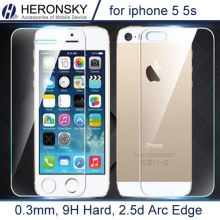 2 pcs/lot 0.3mm One Front one Back Tempered Glass for iPhone 5 5s 2.5D Arc Edge Screen Protector with Clean Tools