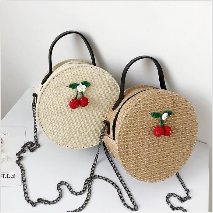 Sacs à bandoulière pour femmes 2018 sacs ronds faits à la main Style bohème plage paille unique épaule chaîne sangle sacs à main sac Messenger.
