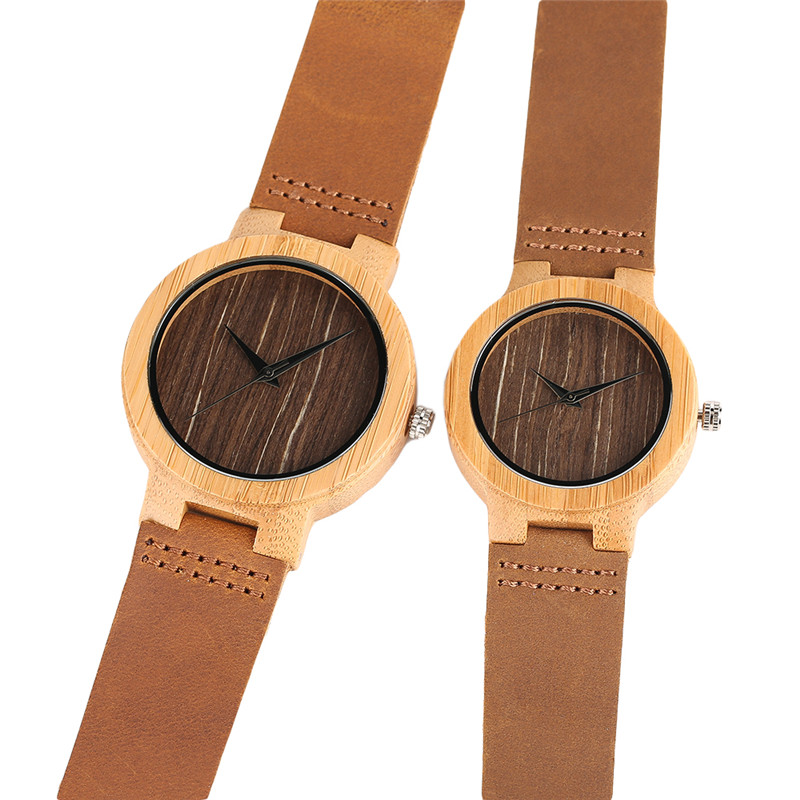 Modern Simple Lovers Hand-made Bamboo Watch Men Women Brown Genuine Leather Stylish Wood Wristwatch Gift for Couple amantes