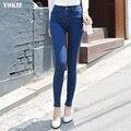 Las mujeres de Corea de la Alta Cintura Lápiz Denim Jeans Delgado Licra Pantalones Primavera Verano Otoño Más El Tamaño 34 pantalones vaqueros Flacos femenino