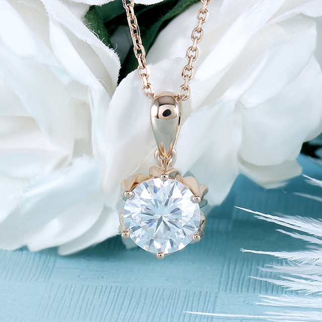 DovEggs 18K 750 Rose Gold 1CTW 6.5mm F Color Moissanite Flower Shaped Pendant Necklace with 14 5