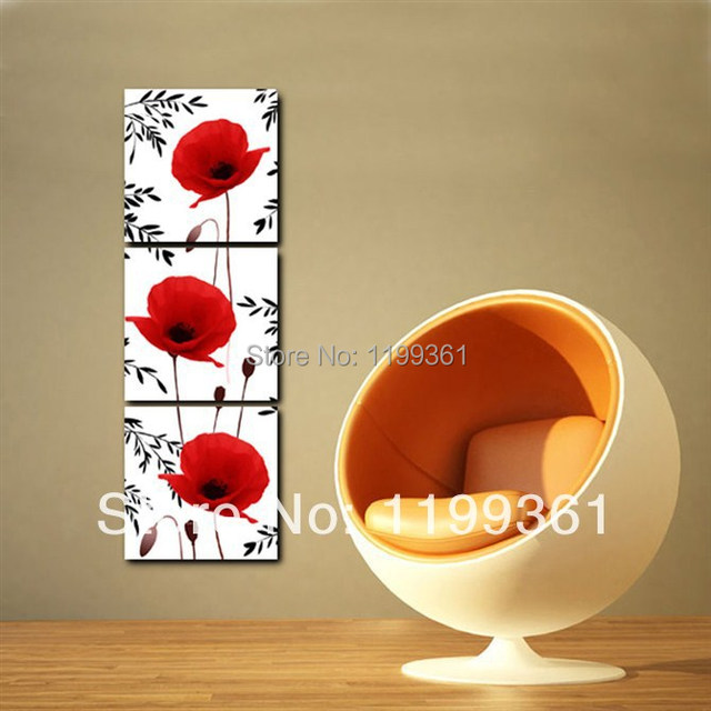 3 Piece Free Shipping Modern Wall Painting Lovely Red Poppy Flower ...