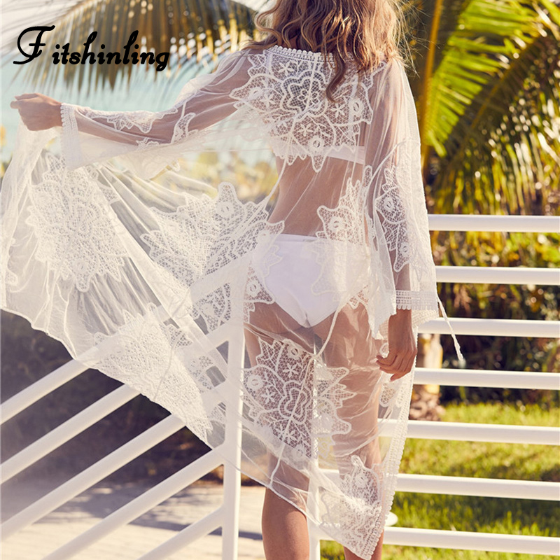 Fitshinling Bohemian long beach cover up lace kimono swimwear white cardigan flower sexy hot sheer white cape summer cover-ups