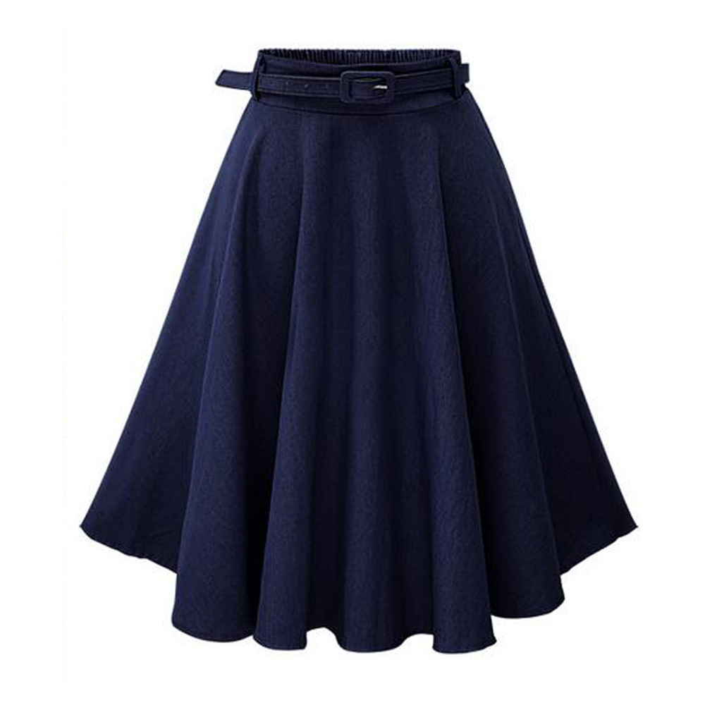 Casual High Waist Jeans Blue Skirt For Summer Slim A-line Loose Cotton Skirt Women Knee-length Pleated Skirt For Women With Belt