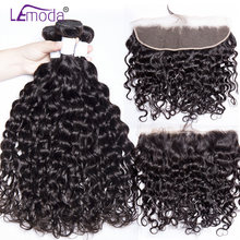 Brazilian Water Wave Bundles With Closure Remy Hair Lace Frontal With Bundles Deal Human Hair Bundles With Frontal Lemoda Hair(China)