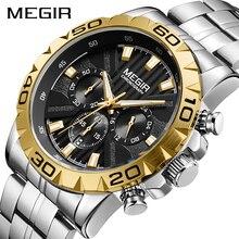 Megir relógio de pulso masculino, relógio de quartzo para homens de negócios, à prova dágua luxuoso 2020
