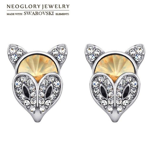 Neoglory Austria Crystal   Rhinestone Stud Earrings Alloy Plated Fashion Cute  Fox Style Jewelry For Women Classic Sale 65db98cbe40b