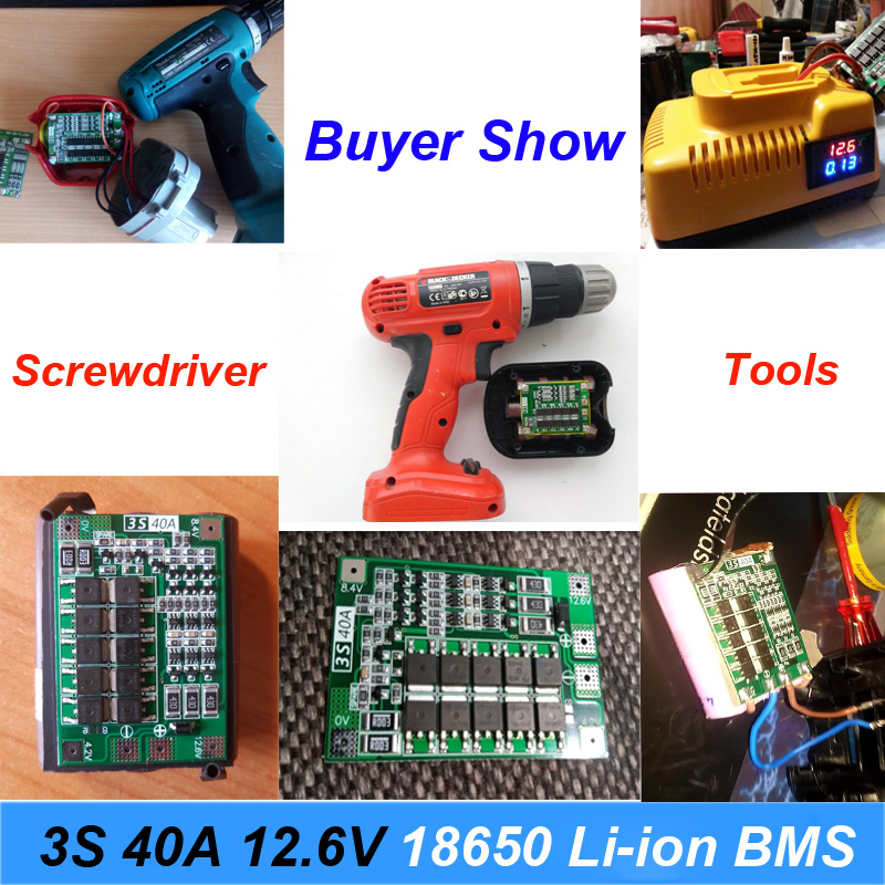 Batteries Power Source 1pcs 3s 40a 11.1v 12.6v 18650 Lithium Battery Protection Board For Screwdriver Drill 40a Current With Balance