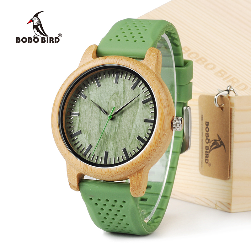 BOBO BIRD B06 Mænds Quartz Watch With Silicone Strap Grøn Wooden Bamboo Casual Japansk Bevægelse Watch Reloj de silicon para mu