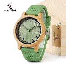 Мужские и женские бамбуковые часы BOBO BIRD, повседневные кварцевые часы с силиконовым ремешком