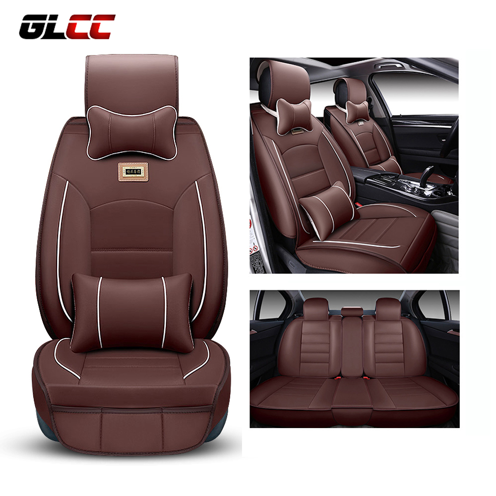 Deluxe PU Leather Car Seat Cover Set Cushion Headrest Universal 5 Seat Covers Protector Seat Automotive Accessories Interior